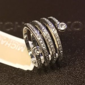 Michael Kors Silver Tone Pave Coil Ring